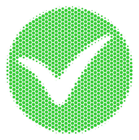 Halftone hexagon Apply icon. Pictogram on a white background. Vector composition of apply icon organized of hexagonal elements.