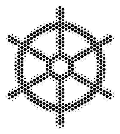 Halftone hexagonal Boat Steering Wheel icon. Pictogram on a white background. Vector concept of boat steering wheel icon organized of hexagonal dots.