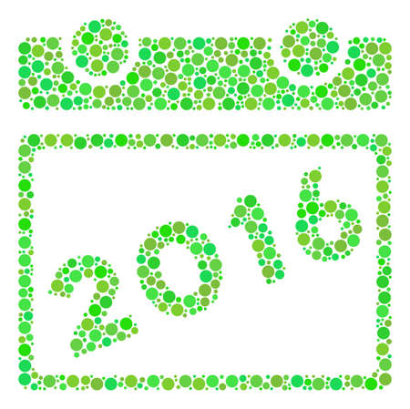 2016 Calendar mosaic icon of spheric blots in variable sizes and ecological green color tints. Raster dots are united into 2016 calendar mosaic. Ecology raster illustration. Stock Photo