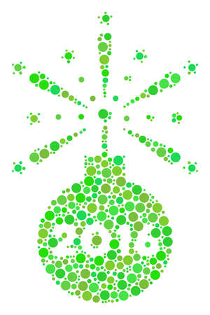 2016 Fireworks Detonator collage icon of filled circles in variable sizes and fresh green color tinges. Raster dots are organized into 2016 fireworks detonator mosaic. Ecology raster illustration.
