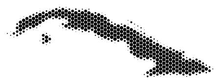 Halftone dotted Cuba Map. Vector geographical map on a white background. Vector mosaic of Cuba Map done of spheric spots. Illustration