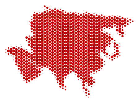 Halftone round spot Asia Map. Vector geographical map on a white background. Vector concept of Asia Map done of round pixels. Illustration