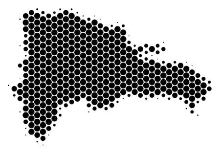 Halftone dot Dominican Republic Map. Vector geographic map on a white background. Vector pattern of Dominican Republic Map done of circle spots.