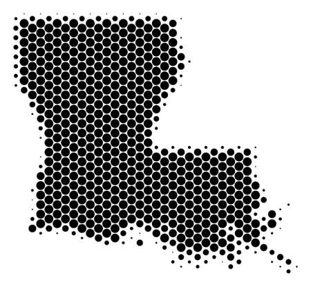 Halftone round spot Louisiana State Map. Vector geographic map on a white background. Vector concept of Louisiana State Map constructed of spheric items.