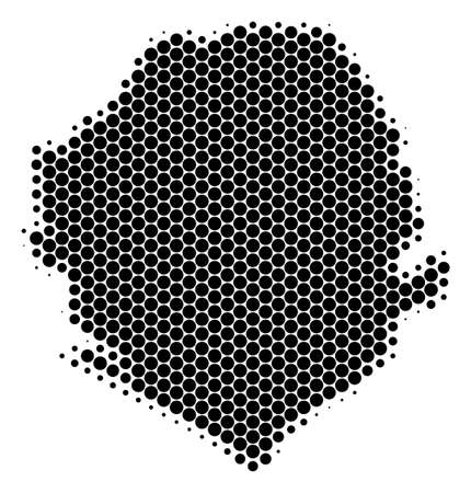 Halftone round spot Sierra Leone Map. Vector geographical map on a white background. Vector mosaic of Sierra Leone Map composed of spheric pixels.