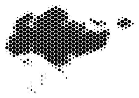 Halftone dot Singapore Map. Vector geographical map on a white background. Vector collage of Singapore Map combined of circle pixels.