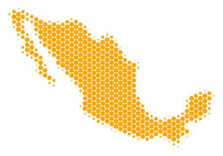 Halbtonkreis Mexiko Kartenvektor geografisch auf einem weißen Hintergrund. Konzept der Mexiko-Karte von Kreispunkten gemacht.