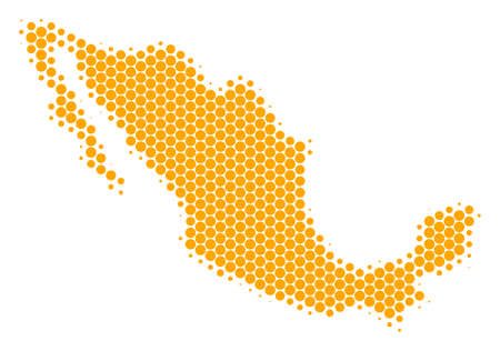 Halftone circle Mexico map vector geographic on a white background. Concept of Mexico map done of circle spots.