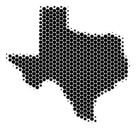 Halftone round spot Texas Map. Vector geographical map on a white background. Vector concept of Texas Map designed of sphere elements.