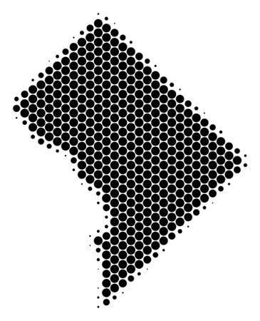 Halftone round spot Washington DC map vector geographic on a white background. Pattern of Washington DC map created of circle items.