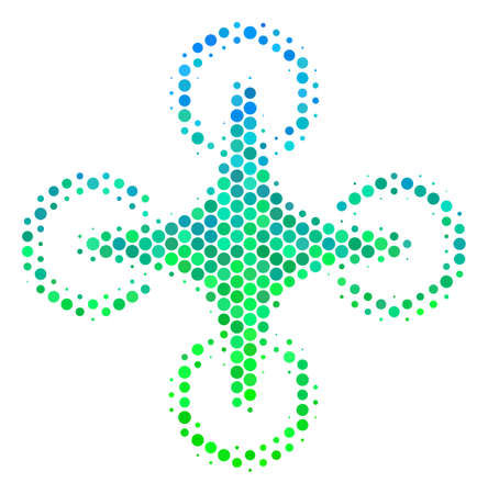 Halftone round spot Air Drone icon. Pictogram in green and blue color hues on a white background. Vector collage of air drone icon constructed of sphere elements.
