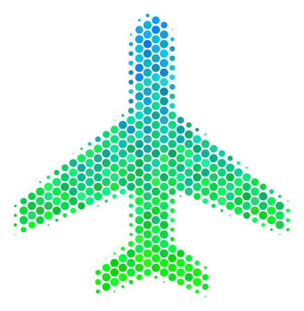 Halftone circle Air Plane icon. Icon in green and blue color tones on a white background. Vector collage of air plane icon created of spheric elements. Illustration