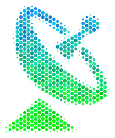 Halftone dot Antenna pictogram. Pictogram in green and blue color hues on a white background. Vector pattern of antenna icon made of sphere elements. Illustration