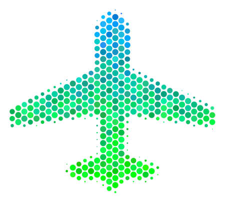 Halftone dot Airplane pictogram. Pictogram in green and blue color tinges on a white background. Vector concept of airplane icon created of sphere dots.