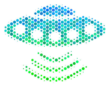 Halftone round spot Alien Invasion icon. Icon in green and blue color tones on a white background. Vector collage of alien invasion icon composed of round elements.