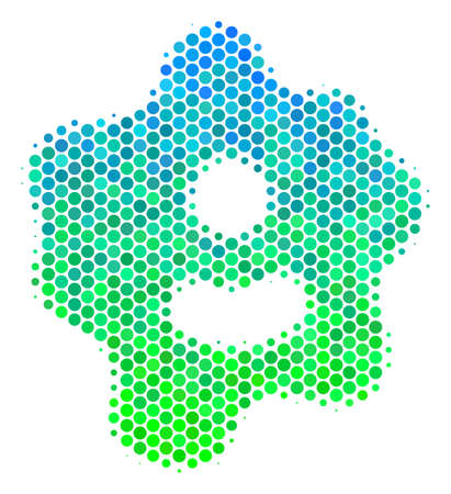Halftone circle Amoeba pictogram. Pictogram in green and blue color tones on a white background. Vector pattern of amoeba icon combined of circle spots.