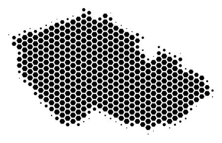 Halftone hexagon Czech Map. Vector geographic map on a white background. Vector pattern of Czech Map made of hexagon blots. Ilustrace