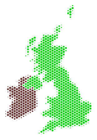 Halftone hexagonal Great Britain And Ireland Map. Vector geographic map on a white background. Vector collage of Great Britain And Ireland Map designed of hexagon pixels.