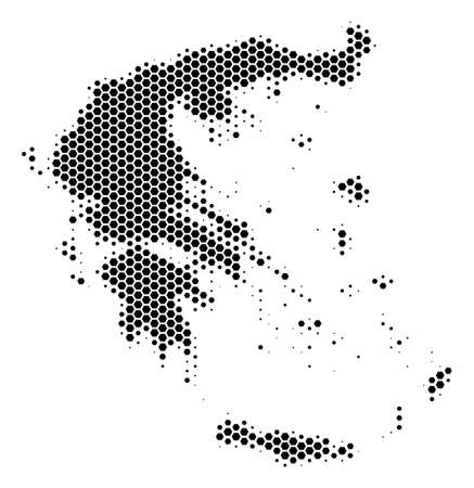 Halftone hexagon Greece Map. Vector geographic map on a white background. Vector pattern of Greece Map organized of hexagon elements.