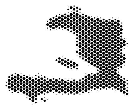 Halftone hexagon Haiti Map. Vector geographical map on a white background. Vector composition of Haiti Map created of hexagon elements.
