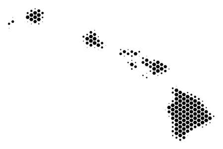 Halftone hexagon Havaii Islands Map. Vector geographic map on a white background. Vector composition of Havaii Islands Map done of hexagonal pixels. Illustration