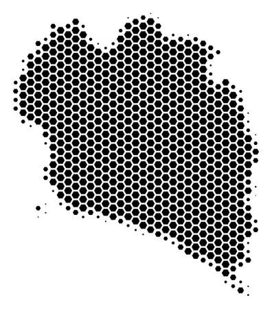 Halftone hexagon Koh Phangan Thai Island Map. Vector geographic map on a white background. Vector pattern of Koh Phangan Thai Island Map constructed of hexagon items.