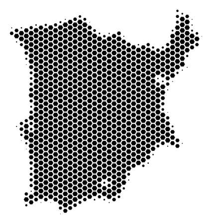 Halftone hexagonal Koh Samui Map. Vector geographic map on a white background. Vector composition of Koh Samui Map created of hexagon blots.