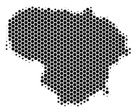 Halftone hexagon Lithuania Map. Vector geographical map on a white background. Vector pattern of Lithuania Map organized of hexagonal dots.