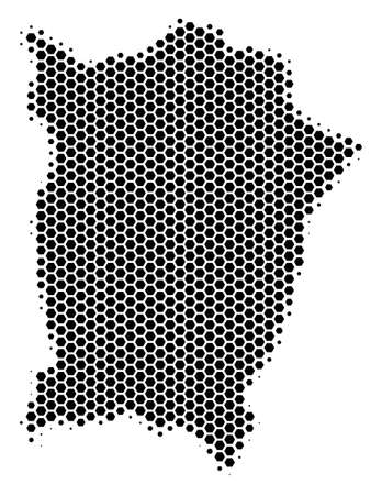 Halftone hexagon Penang Island Map. Vector geographical map on a white background. Vector collage of Penang Island Map composed of hexagon dots.