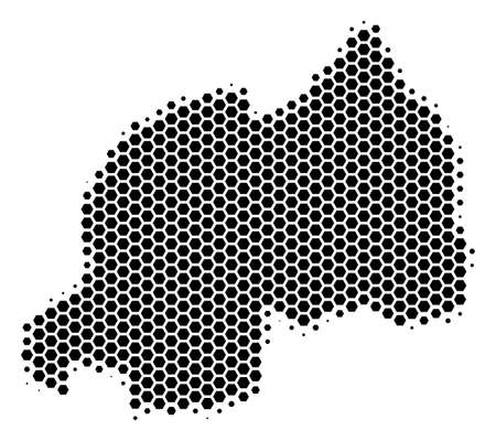 Halftone hexagon Rwanda Map. Vector geographical map on a white background. Vector concept of Rwanda Map designed of hexagon elements.