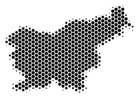 Halftone hexagon Slovenia Map. Vector geographic map on a white background. Vector mosaic of Slovenia Map organized of hexagon dots. 일러스트