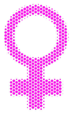 Halftone hexagonal Venus Symbol. Vector geographic map on a white background. Vector composition of Venus Symbol created of hexagon spots.