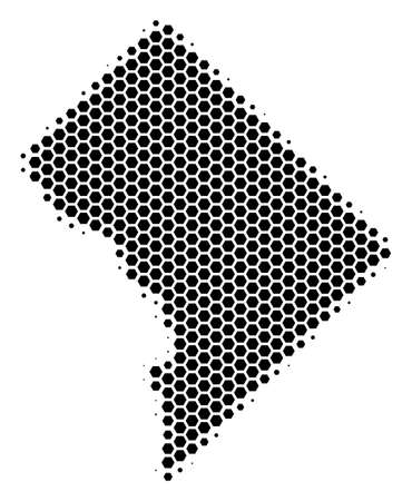 Halftone hexagonal Washington DC Map. Vector geographic map on a white background. Vector collage of Washington DC Map combined of hexagonal spots.