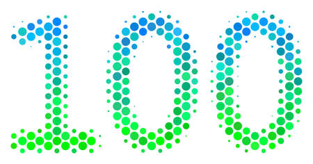 Halftone dot 100 Text icon. Pictogram in green and blue color hues on a white background. Raster mosaic of 100 text icon created of circle pixels.