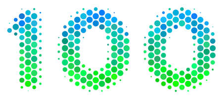Halftone round spot 100 Text icon. Pictogram in green and blue color tones on a white background. Raster collage of 100 text icon made of sphere pixels.