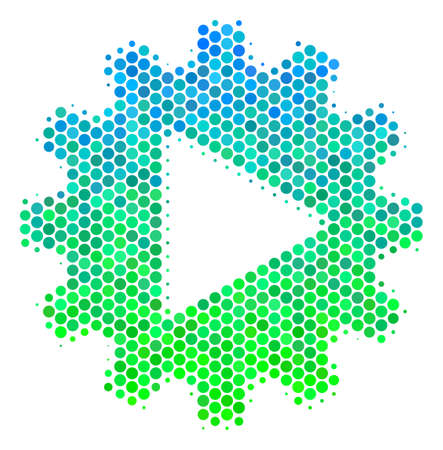 Halftone circle Automation icon. Pictogram in green and blue color tints on a white background. Raster pattern of automation icon composed of sphere dots. Stock Photo