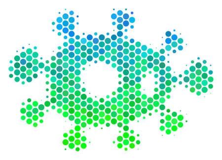 Halftone round spot Bacteria pictogram. Pictogram in green and blue color tints on a white background. Raster collage of bacteria icon done of round dots.