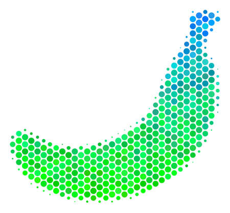 Halftone dot Banana pictogram. Pictogram in green and blue color hues on a white background. Raster pattern of banana icon made of circle dots. 写真素材