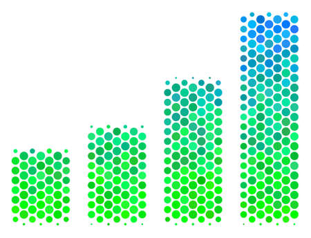 Halftone circle Bar Chart pictogram. Icon in green and blue color tinges on a white background. Raster pattern of bar chart icon done of spheric items.