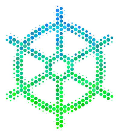 Halftone circle Boat Steering Wheel pictogram. Icon in green and blue color tinges on a white background. Raster pattern of boat steering wheel icon combined of spheric pixels.