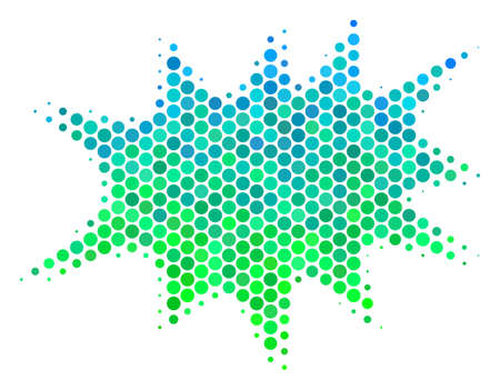 Halftone dot Boom Bang pictogram. Icon in green and blue shades on a white background. Raster composition of boom bang icon designed of sphere elements.