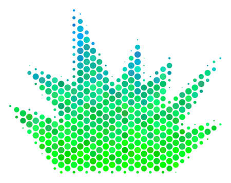 Halftone round spot Boom Explosion icon. Pictogram in green and blue color tinges on a white background. Raster pattern of boom explosion icon combined of spheric items. Stock Photo