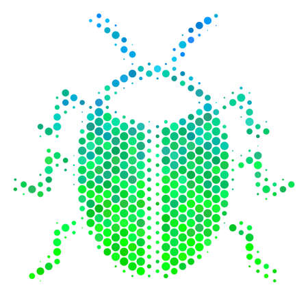 Halftone dot Bug icon. Icon in green and blue color tinges on a white background. Raster mosaic of bug icon constructed of sphere blots.