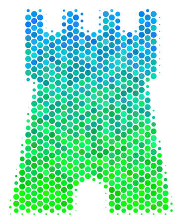 Halftone circle Bulwark Tower icon. Icon in green and blue color tints on a white background. Raster concept of bulwark tower icon organized of spheric items.