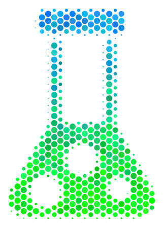 Halftone circle Chemistry icon. Pictogram in green and blue shades on a white background. Raster concept of chemistry icon organized of spheric elements.