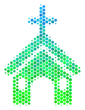 Halftone circle Christian Church pictogram. Pictogram in green and blue color hues on a white background. Raster composition of christian church icon designed of circle items. Stock Photo