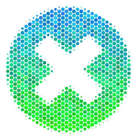 Halftone dot Cancel icon. Pictogram in green and blue color hues on a white background. Raster collage of cancel icon designed of spheric items.