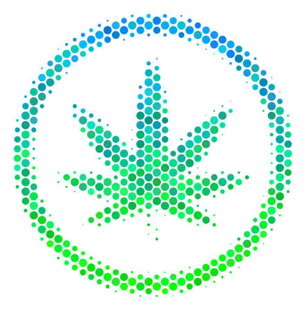 Halftone round spot Cannabis icon. Icon in green and blue color hues on a white background. Raster mosaic of cannabis icon combined of sphere items.