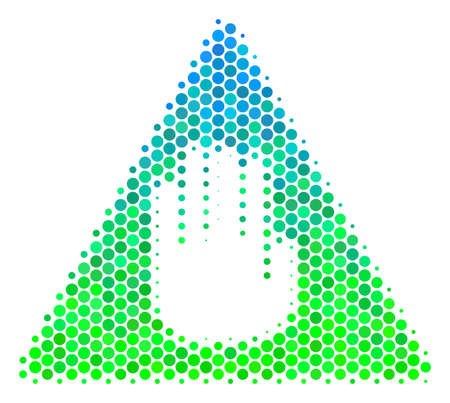 Halftone circle Caution icon. Icon in green and blue color hues on a white background. Raster collage of caution icon constructed of circle pixels.