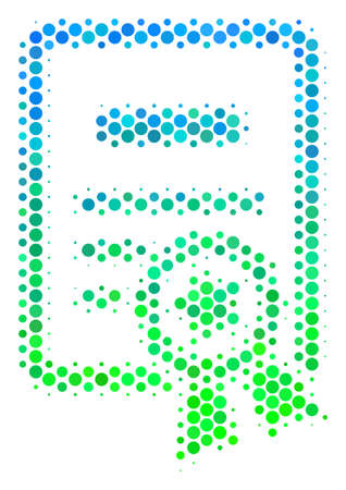 Halftone dot Certificate pictogram. Pictogram in green and blue color tones on a white background. Raster composition of certificate icon made of round blots.